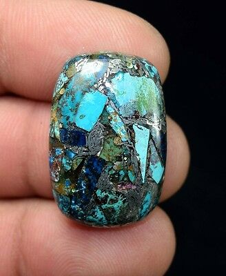 Beautiful ! 24.75 Cts. Natural  Silver  Azurite  Cushion Cab For Silver Pendant