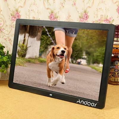 "17"" LED 1080P Digital Photo Picture Frame Alarm Clock MP3/4 Remote Control G6N3"