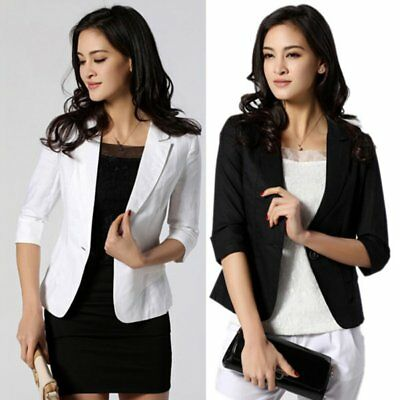 Women Blazer One Button Cotton OL Short Suit Coat Jacket 3/4 Sleeve Outwear