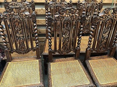 6 Antique Vine And Leaf Barley Twist Oak Dining Chairs