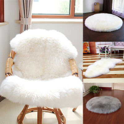 Luxury Fluffy Warm Sheepskin Seat Pad Faux Fur Floor Mat Blanket Bedroom Carpet