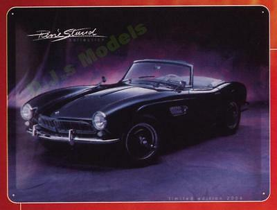 BMW 507 embossed Tin Sign - artwork by Rene Staud