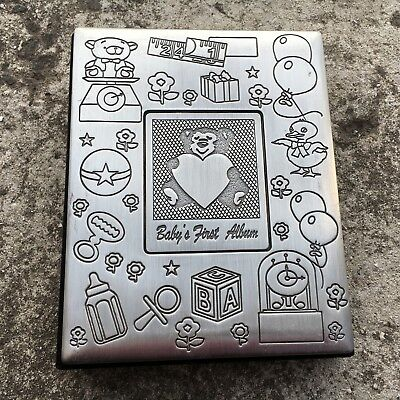 "BABY'S FIRST ALBUM ""Silver"" Gorgeous Metal & Velvet Teddy Photo Album (Hold 72)"