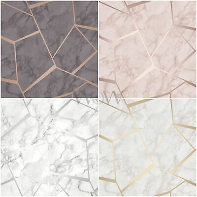 Fine Decor Fractal Geometric Marble Metallic Wallpaper - Rose Gold Silver Copper