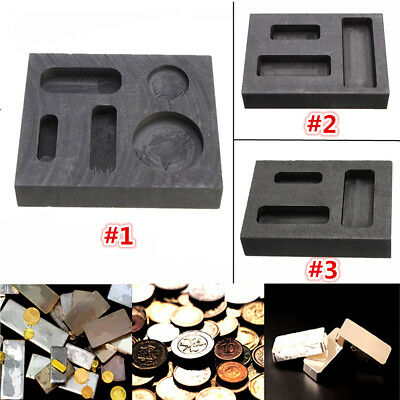Square Graphite Crucible Gold & Silver Melting Ingot Mould Bar / Round Coin Mold