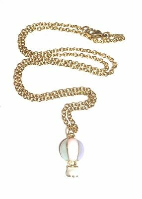 Enamel hot air balloon charm on gold plated stainless steel necklace in gift box