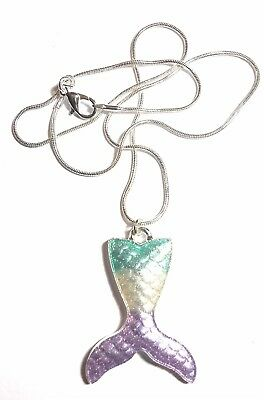 Pearlised mermaid tail charm with silver plated snake chain necklace in gift box