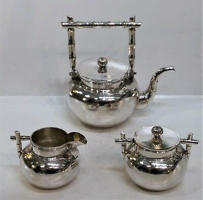 Elegant High-Quality Chinese Export Silver Tea Service Bamboo, Hc, Early 20Th C.