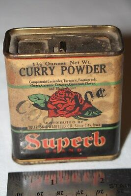 Vintage Superb Brand Spice Tin Tolerton Warfield Sioux City IA Rose Curry Paper