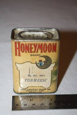 Vintage Honeymoon Turmeric Spice Tin Cohen Wholesale Grocer Sioux City Iowa 1.5