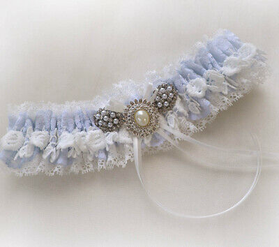 Ivory Light Blue Off White Lace Wedding Bridal Personalized Garter