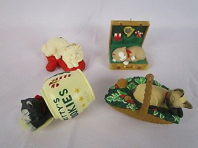 Hallmark Keepsake Ornaments CAT NAPS Series First 4 in Series 1994-95-96-97 Lot