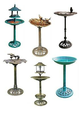 Bird Bath Traditional Ornamental Pedestal Outdoor Garden Water Copper Cast Iron