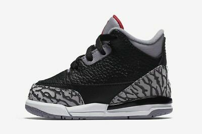 "Infant (TD) Air Jordan 3 Retro ""Black Cement"" Black/Fire Red 832033-021"