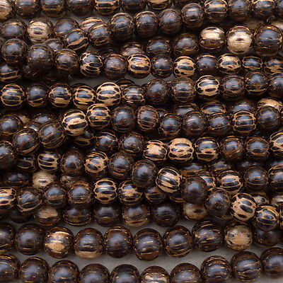 Natural Old Palm Wood Round Beads Various Sizes 16'' Strand