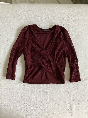 Material Girl Burgundy Crop Top With Full Lace Detail Size Medium