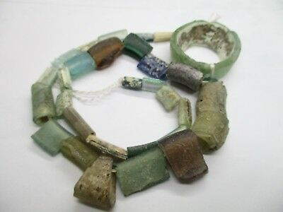 Stunning Multicolor old fragment glass beads with natural hole great Pattern G50