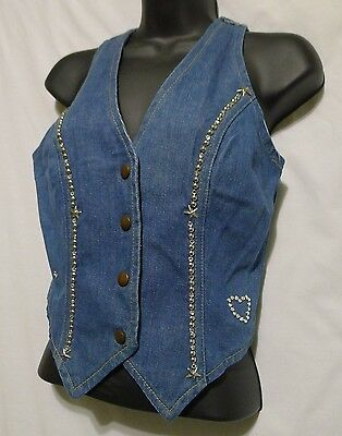 Ladies GWG Scrubbies Jean Vest 1970s Size Small Studded Denim Union Made Canada