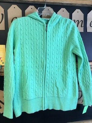 Large Motherhood Green Zip Up Maternity sweater With Hood