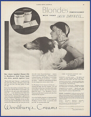 Vintage 1933 WOODBURY'S Cold Cream Facial Bathroom Art Decor Print Ad 30's