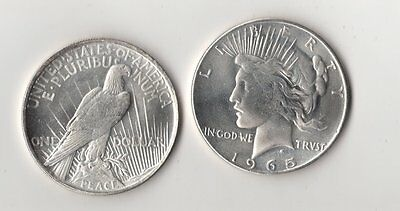1965 P Peace Dollar Silver Plated Novelty Fantasy Issue Coin AU