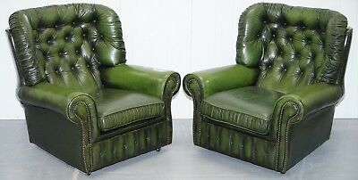 Matching Pair Of Aged Green Leather Chesterfield Monks Armchairs Part Of A Suite