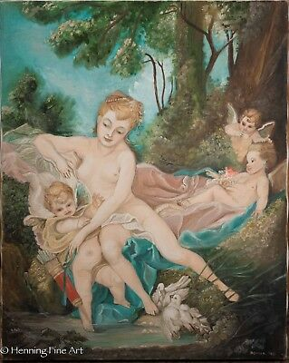 """Oil Painting of Francois Boucher """"Venus Consoling Love"""" by Donna Goodsmith, Nice"""