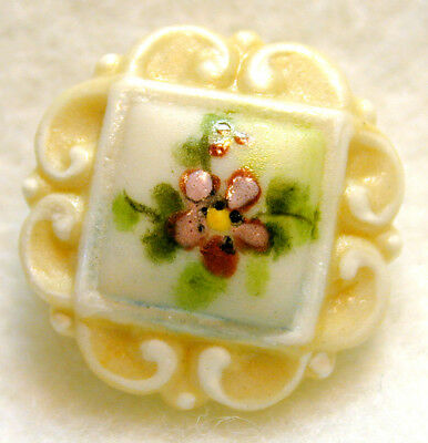 """Handcrafted Porcelain Button Italian Scroll Square w Flowers  FreeUSShip 3/4"""""""