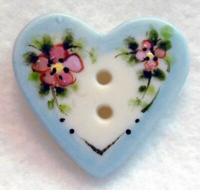 """Handcrafted Porcelain Button Heart w/ Blue Rim & Flowers FREE US SHIPPING 7/8"""""""