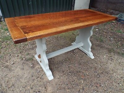 Pretty Antique Solid Oak Painted Shabby Chic Refectory Dining Table ref525278