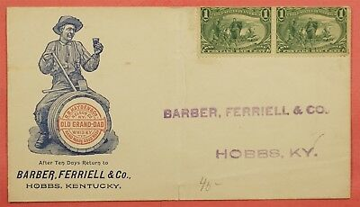 OLD GRAND-DAD WHISKEY Illus KENTUCKY AD Cover w TRANS-MISSISSIPPI Stamps c. 1898