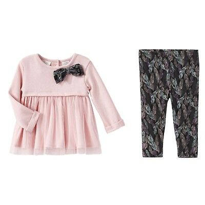 Infant Girls Pink Bows & Feathers Baby Outfit Shirt & Leggings Set