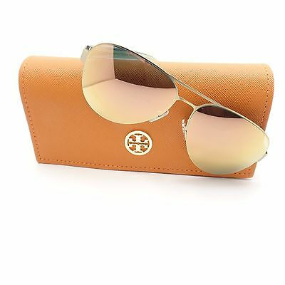 85505d99a0af Tory Burch 6048 3146R5 Satin Gold Mirror 59mm New Sunglasses Authentic