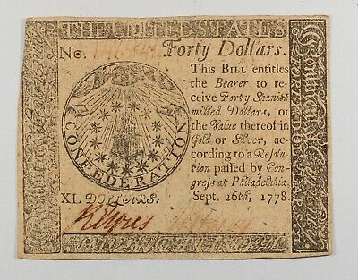 COLONIAL CONTINENTAL CURRENCY $40 Sep't. 26,1778 AU