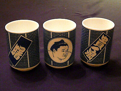 Rare Collection of 3 Vintage SIGNED Authentic Japanese Anniversary Sumo Tea Cups