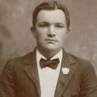Mini Dollhouse Sized Antique Cabinet Card Photo, Young Man, Suit Bowtie & Pin
