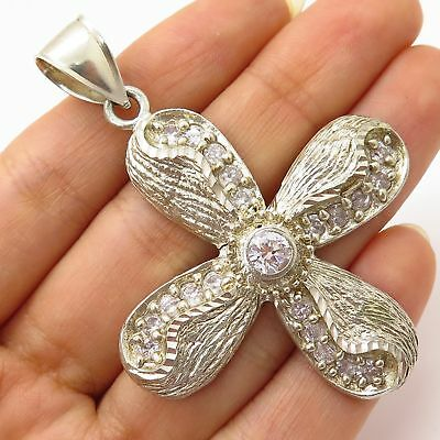 925 Sterling Silver C Z Propeller Cross Protection Large Textured Pendant