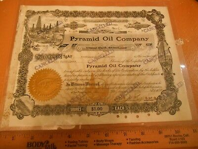 Pyramid Oil Company Canceled Stock Certificate 1918 laminated Bakersfield, CA.