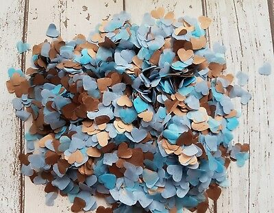 Turquoise Blue Copper (Rose Gold)Hearts Confetti  Wedding Decoration /2 Handfuls