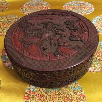 "8-3/4""  Antique Chinese Hand Carved Cinnabar Box Lacquer"
