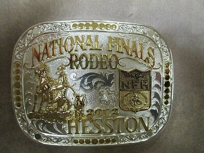"""2012 Hesston National Two Toned Finals Rodeo """"Adult"""" Belt Buckle Gold/Silver NIB"""