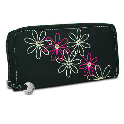 Travelon Safe ID RFID Blocking Daisy Womens Zip Wallet Clutch Card Holder Black