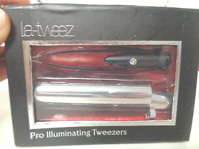 LaTweez Pro Illuminating Tweezers with Lipstick Case, Black, NO POWER ON