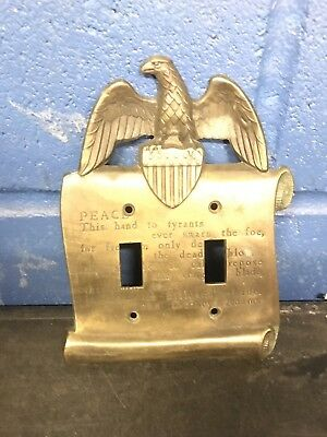 VTG Brass Double Light Switch Plate Cover Eagle John Quincy Adams Peace Quote