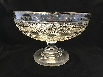 American Diamond Cut Crystal Glass Compote Bowl-19th C.         #1856