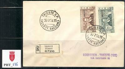 PHT_176 TRIESTE. Nicely franked 1954 letter w. CENT. MARCO POLO set. Sas 204-205