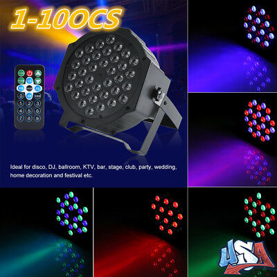 10-Pack 70W RGB 36LED Par Stage Light DMX-512 DJ Disco Party Wedding Lighting