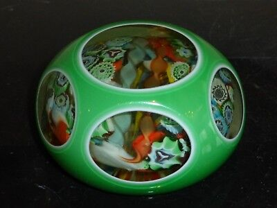 """Faceted Millefiori Paperweight With Engraved """"loetz Austria"""""""