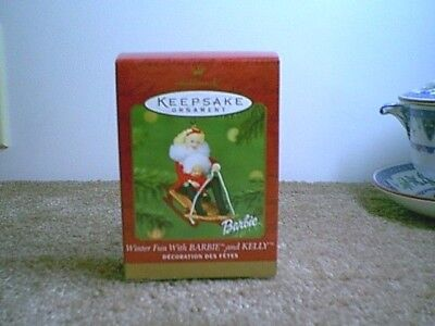 Hallmark Ornament Winter Fun with Barbie and Kelly 2000 Sled Ride
