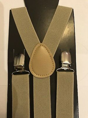 NEW! KHAKI Boy Girl Size: Kids to Small Adult SUSPENDERS Elastic Y-Back Braces